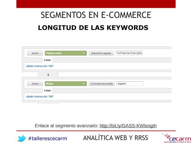 #tallerescecarm ANALÍTICA WEB Y RRSS SEGMENTOS EN E-COMMERCE LONGITUD DE LAS KEYWORDS