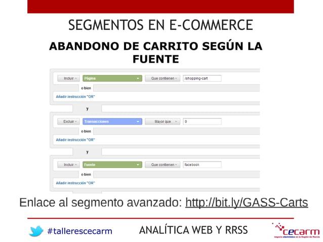 #tallerescecarm ANALÍTICA WEB Y RRSS SEGMENTOS EN E-COMMERCE ABANDONO DE CARRITO SEGÚN LA FUENTE