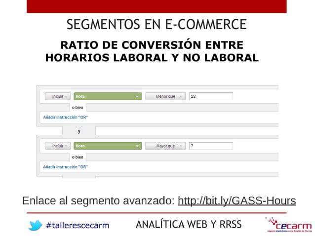 #tallerescecarm ANALÍTICA WEB Y RRSS SEGMENTOS EN E-COMMERCE RATIO DE CONVERSIÓN ENTRE HORARIOS LABORAL Y NO LABORAL