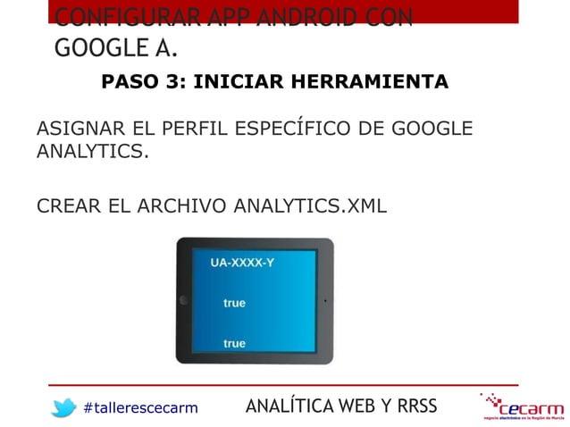 #tallerescecarm ANALÍTICA WEB Y RRSS CONFIGURAR APP ANDROID CON GOOGLE A. PASO 3: INICIAR HERRAMIENTA ASIGNAR EL PERFIL ES...