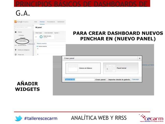 #tallerescecarm ANALÍTICA WEB Y RRSS PRINCIPIOS BÁSICOS DE DASHBOARDS DE G.A. PARA CREAR DASHBOARD NUEVOS PINCHAR EN (NUEV...