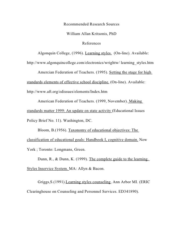 Recommended Research Sources                          William Allan Kritsonis, PhD                                   Refer...