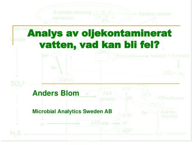 Analys av oljekontaminerat  vatten, vad kan bli fel?  Anders Blom  Microbial Analytics Sweden AB