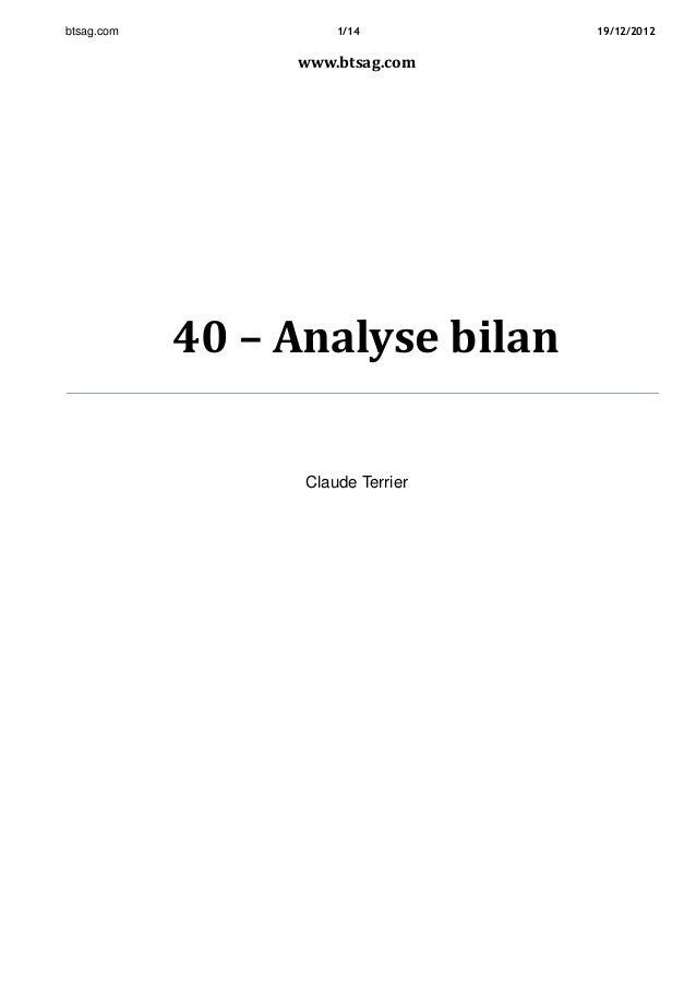 btsag.com 1/14 19/12/2012 www.btsag.com 40 – Analyse bilan Claude Terrier