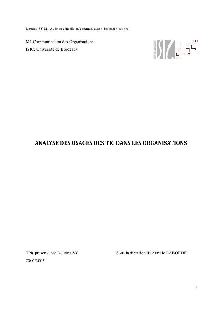 Doudou SY M1 Audit et conseils en communication des organisations   M1 Communication des Organisations ISIC, Université de...