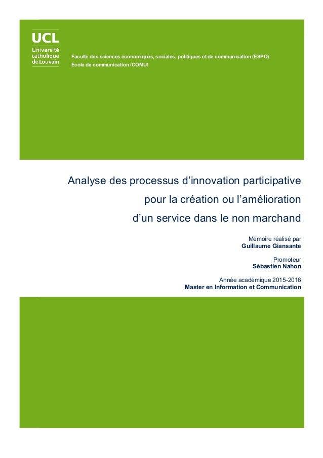Analyse des processus d'innovation participative pour la création ou l'amélioration d'un service dans le non marchand Mémo...