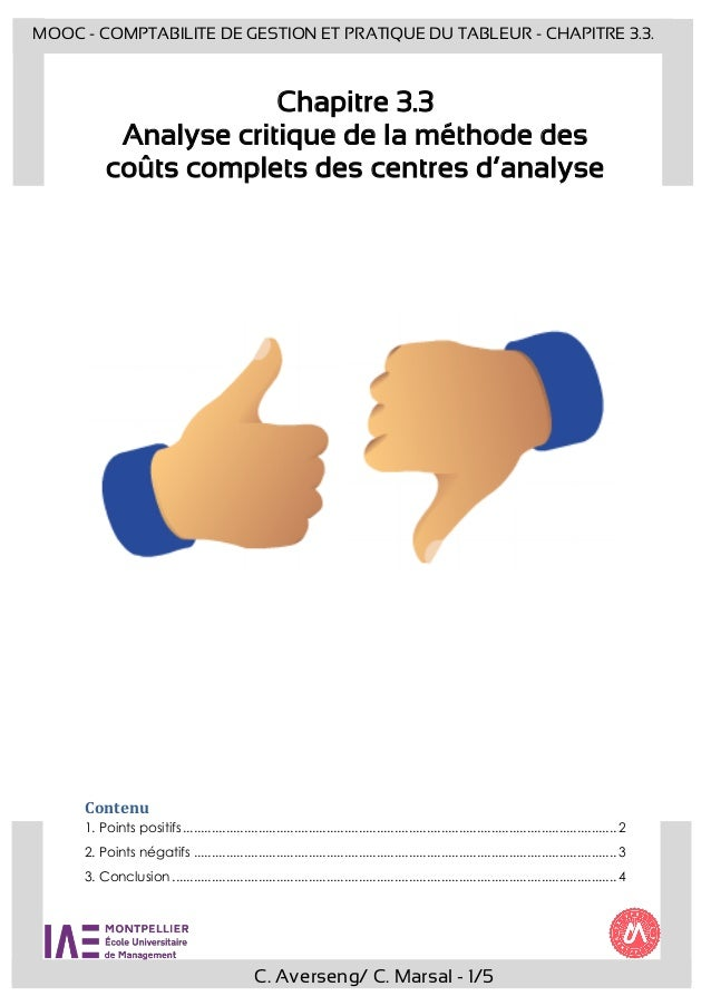 C. Averseng/ C. Marsal - 1/5 MOOC - COMPTABILITE DE GESTION ET PRATIQUE DU TABLEUR - CHAPITRE 3.3. Chapitre 3.3 Analyse cr...