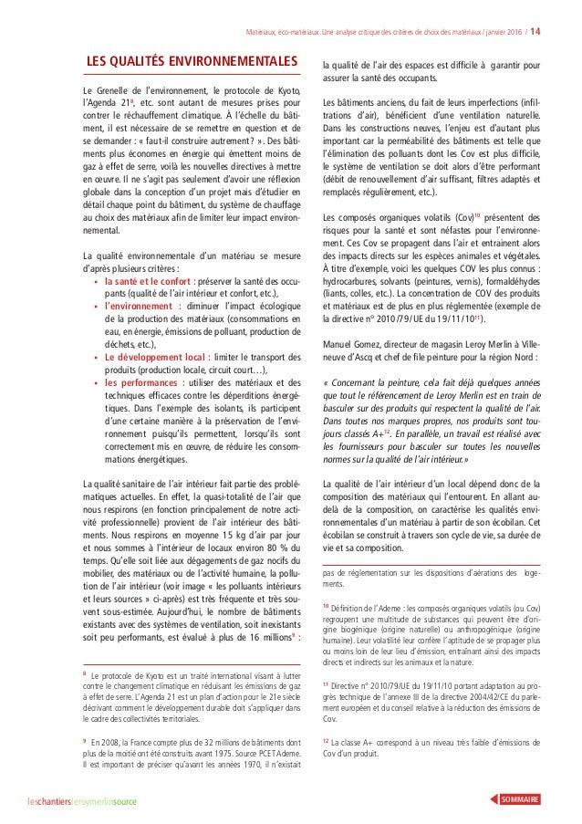 Analyse Critique Des Critères De Choix Des Matériaux Leroy