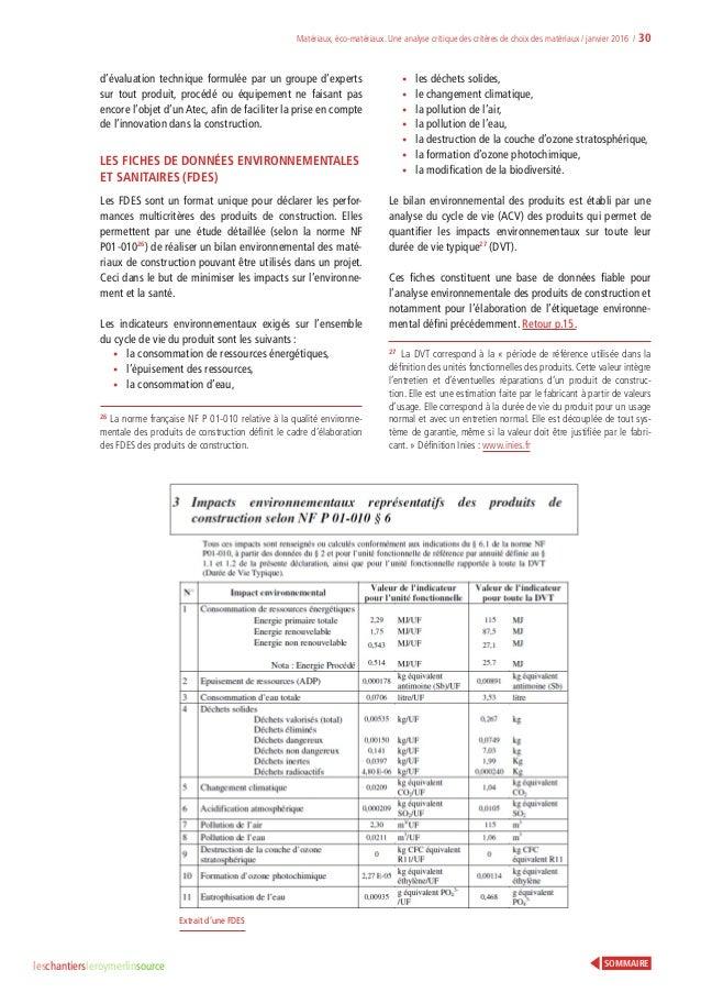 Analyse Critique Des Critres De Choix Matriaux