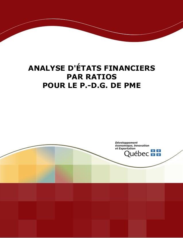 ANALYSE D'ÉTATS FINANCIERS PAR RATIOS POUR LE P.-D.G. DE PME