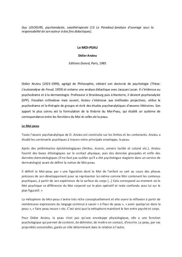 Guy LESOEURS, psychanalyste, sexothérapeute (13 Le Paradou)-(analyse d'ouvrage sous la responsabilité de son auteur à des ...