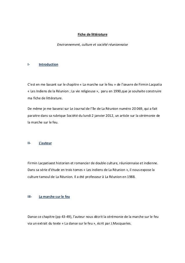 Fiche de littérature                    Environnement, culture et société réunionnaiseI-     IntroductionC'est en me basan...