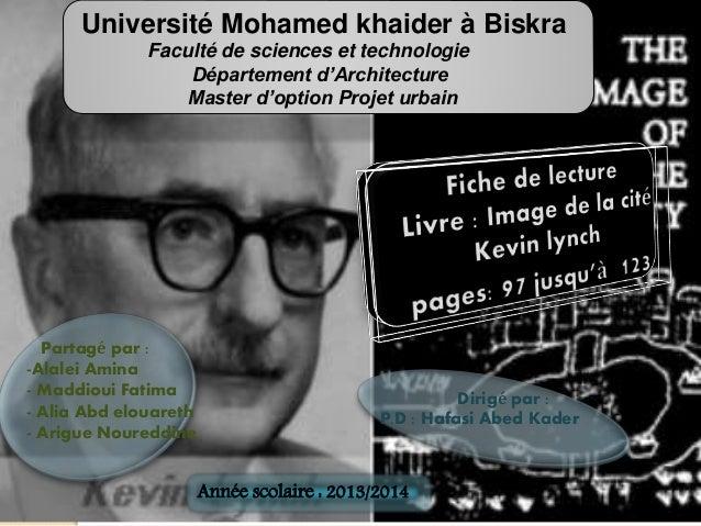 Université Mohamed khaider à Biskra  Faculté de sciences et technologie  Département d'Architecture  Master d'option Proje...