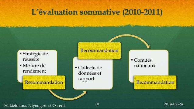 L'évaluation sommative (2010-2011)  • Stratégie de réussite • Mesure du rendement Recommandation  Hakizimana, Niyongere et...