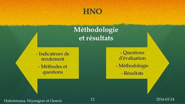 HNO Méthodologie et résultats - Indicateurs de rendement  - Questions d'évaluation  - Méthodes et questions  - Méthodologi...