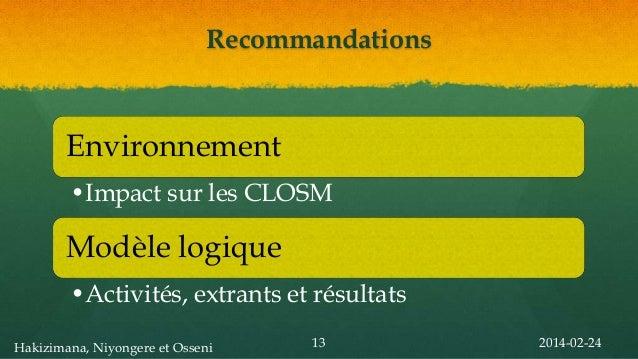 Recommandations  Environnement •Impact sur les CLOSM  Modèle logique •Activités, extrants et résultats Hakizimana, Niyonge...