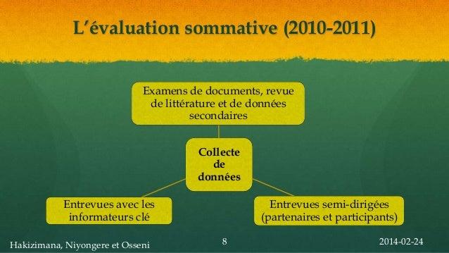 L'évaluation sommative (2010-2011) Examens de documents, revue de littérature et de données secondaires Collecte de donnée...