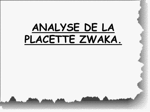 ANALYSE DE LA PLACETTE ZWAKA.