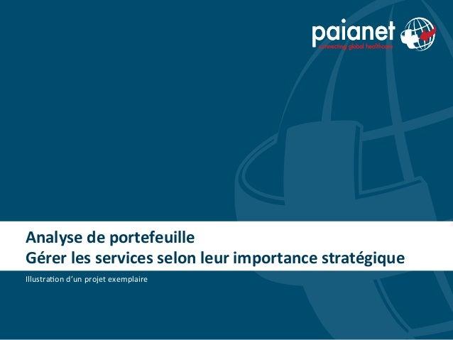 Analyse de portefeuille Gérer les services selon leur importance stratégique Illustra(on d'un proj...