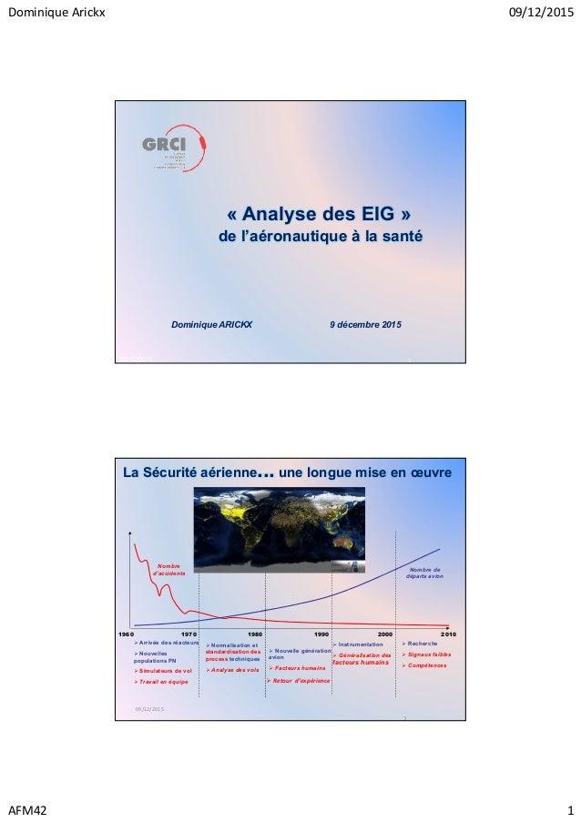Dominique Arickx 09/12/2015 AFM42 1 09/12/2015 1 « Analyse des EIG » de l'aéronautique à la santé Dominique ARICKX 9 décem...
