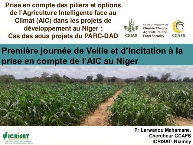 Pr Larwanou Mahamane, Chercheur CCAFS ICRISAT- Niamey Prise en compte des piliers et options de l'Agriculture Intelligente...