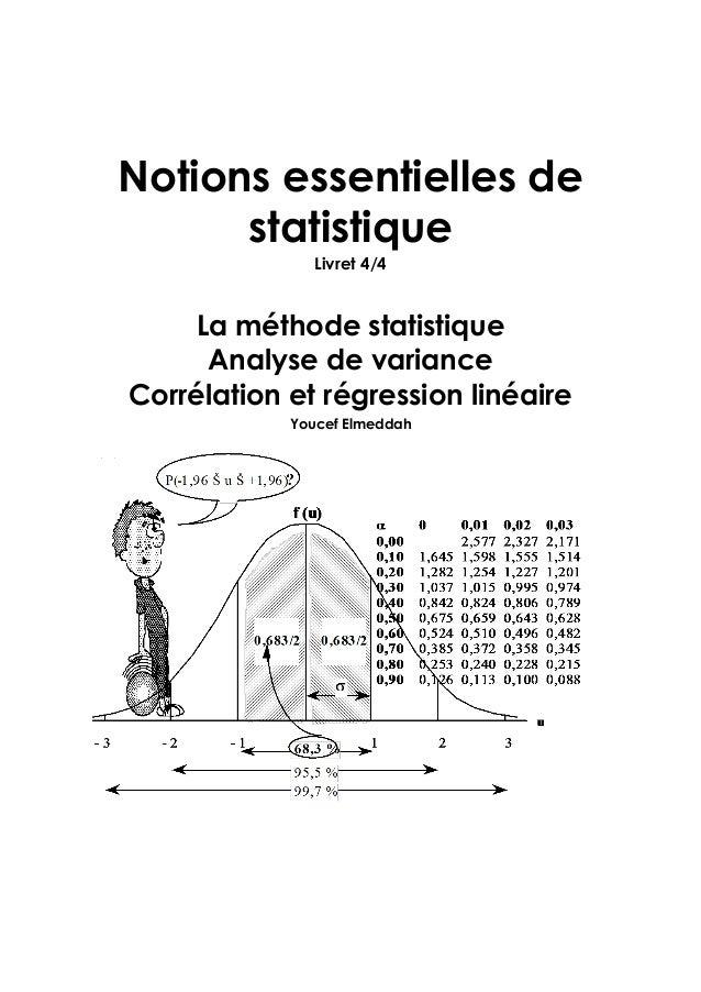 Notions essentielles de statistique Livret 4/4 La méthode statistique Analyse de variance Corrélation et régression linéai...