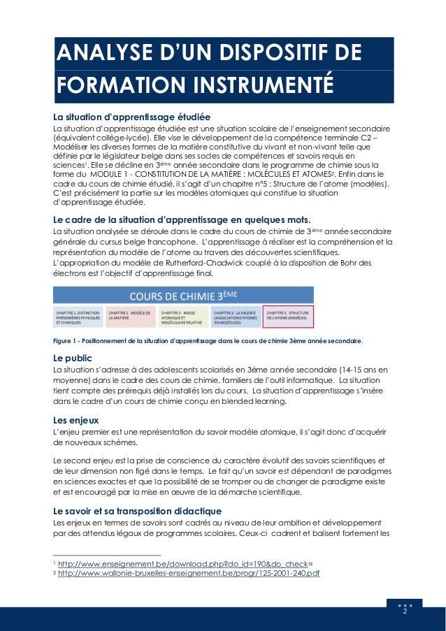Analyse d'une situation d'apprentissage instrumentée : Cours de chimie (modèles atomiques) Slide 3