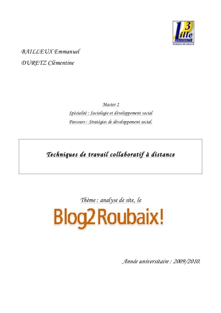 BAILLEUX EmmanuelDURETZ Clémentine                                 Master 2               Spécialité : Sociologie et dével...