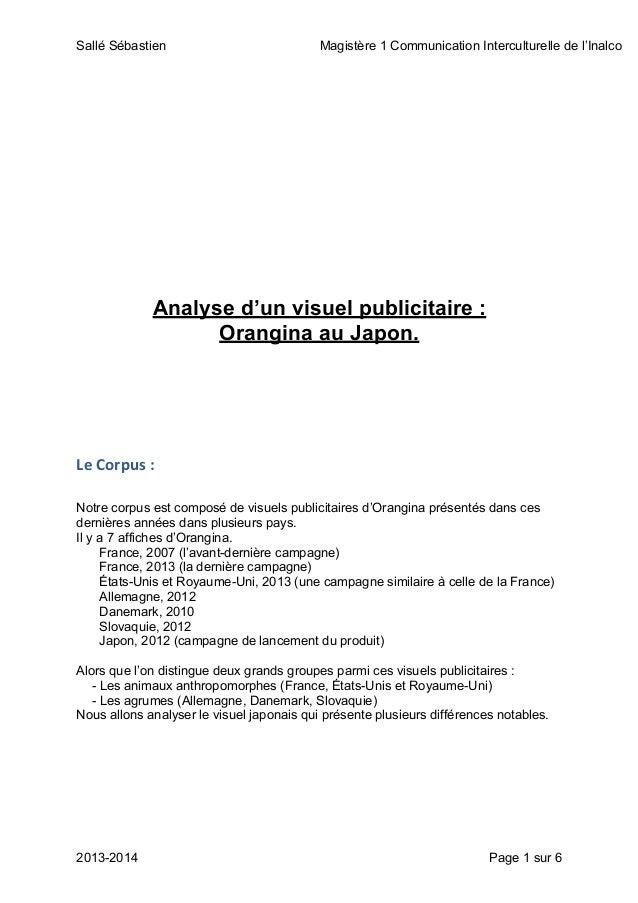 Sallé Sébastien Magistère 1 Communication Interculturelle de l'Inalco 2013-2014 Page 1 sur 6 Analyse d'un visuel publicita...