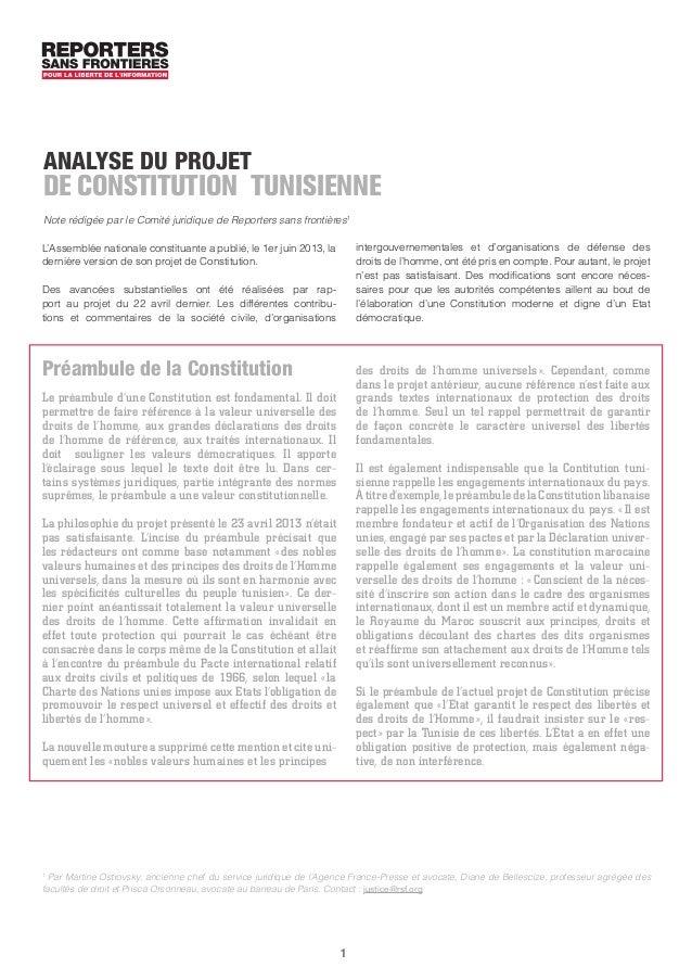 1 L'Assemblée nationale constituante a publié, le 1er juin 2013, la dernière version de son projet de Constitution. Des av...