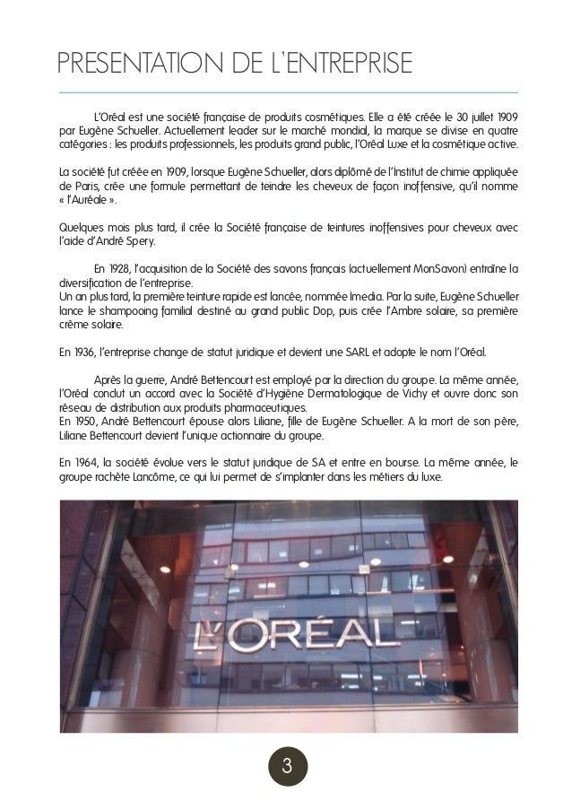 Analyse de l'entreprise l'Oréal Slide 3