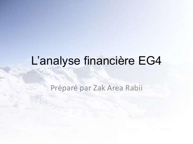 L'analyse financière EG4 Préparé par Zak Area Rabii