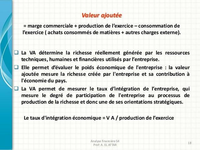 Valeur ajoutée = marge commerciale + production de l'exercice – consommation de l'exercice ( achats consommés de matières ...