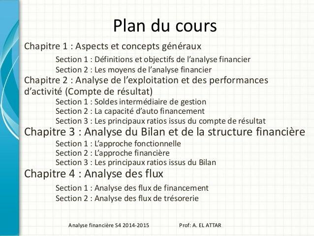 Plan du cours Chapitre 1 : Aspects et concepts généraux Section 1 : Définitions et objectifs de l'analyse financier Sectio...