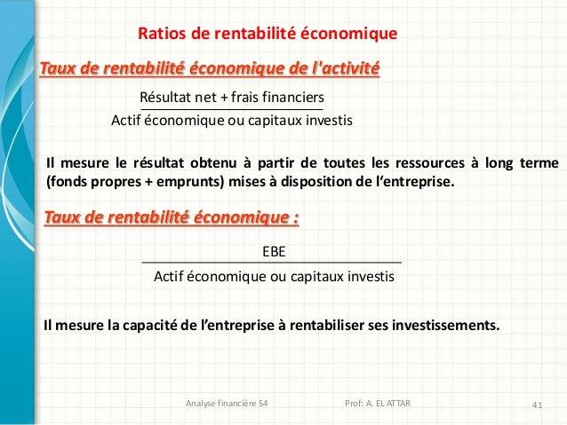 Analyse financière S4 Prof: A. EL ATTAR 41 Ratios de rentabilité économique Taux de rentabilité économique de l'activité I...