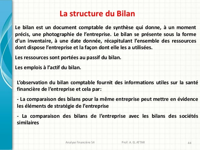 Analyse financière S4 Prof: A. EL ATTAR 44 La structure du Bilan L'observation du bilan comptable fournit des informations...