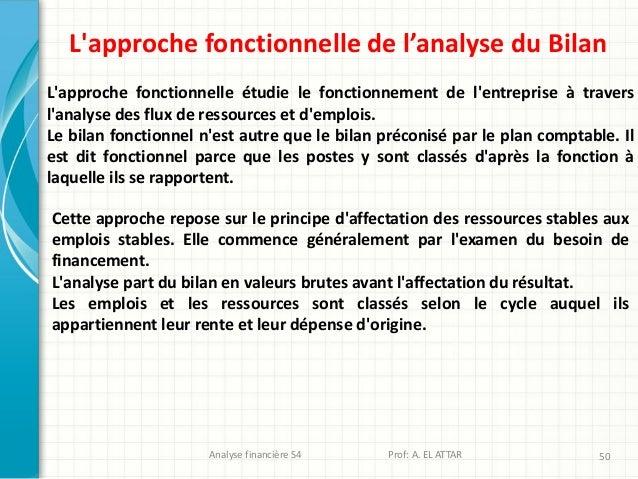 Analyse financière S4 Prof: A. EL ATTAR 50 L'approche fonctionnelle de l'analyse du Bilan L'approche fonctionnelle étudie ...