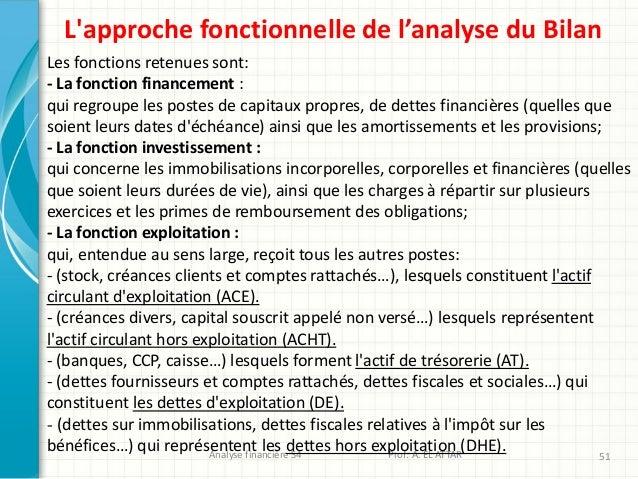 Analyse financière S4 Prof: A. EL ATTAR 51 L'approche fonctionnelle de l'analyse du Bilan Les fonctions retenues sont: - L...