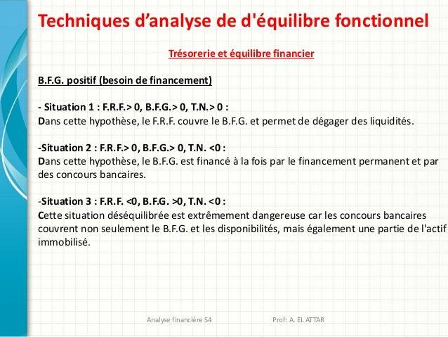 Techniques d'analyse de d'équilibre fonctionnel Trésorerie et équilibre financier B.F.G. positif (besoin de financement) -...