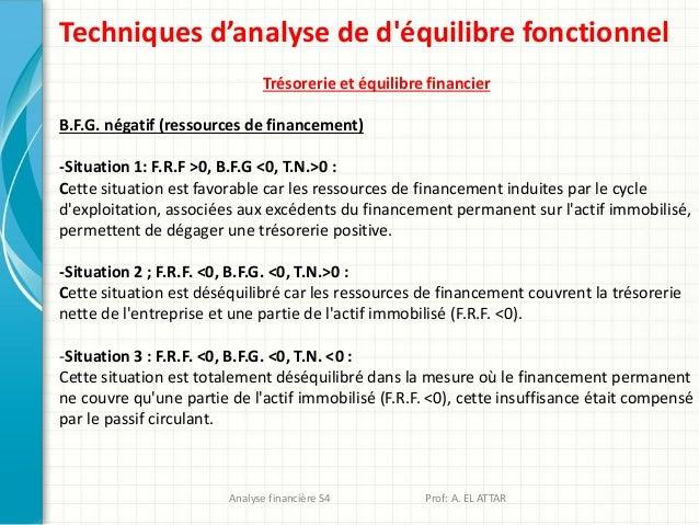 Techniques d'analyse de d'équilibre fonctionnel Trésorerie et équilibre financier B.F.G. négatif (ressources de financemen...