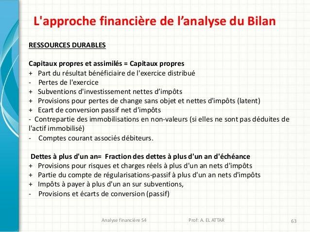 Analyse financière S4 Prof: A. EL ATTAR 63 L'approche financière de l'analyse du Bilan RESSOURCES DURABLES Capitaux propre...