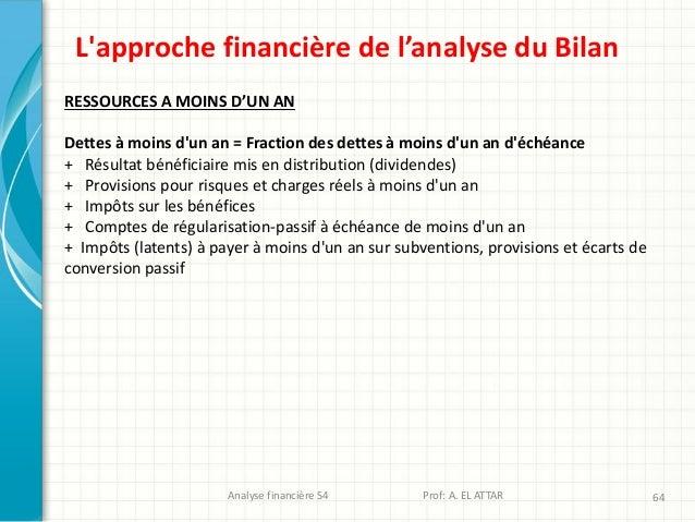 Analyse financière S4 Prof: A. EL ATTAR 64 L'approche financière de l'analyse du Bilan RESSOURCES A MOINS D'UN AN Dettes à...