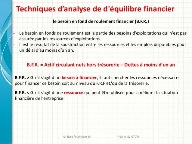 Techniques d'analyse de d'équilibre financier le besoin en fond de roulement financier (B.F.R.) - Le besoin en fonds de ro...