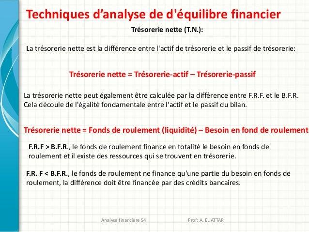 Techniques d'analyse de d'équilibre financier Trésorerie nette (T.N.): La trésorerie nette est la différence entre l'actif...
