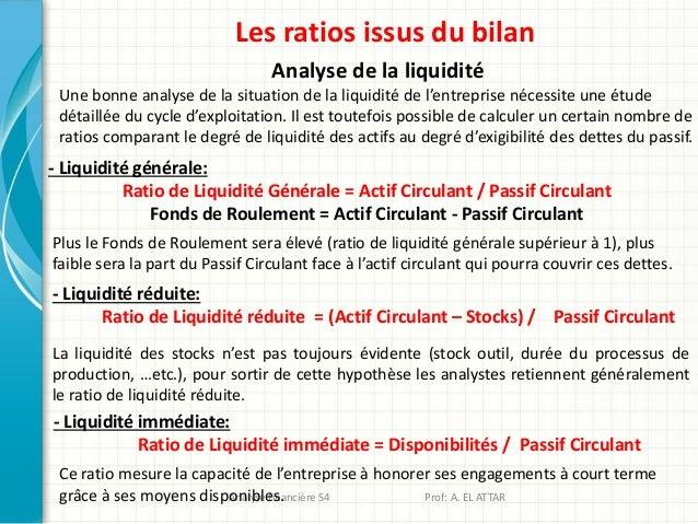 Les ratios issus du bilan Analyse de la liquidité Une bonne analyse de la situation de la liquidité de l'entreprise nécess...