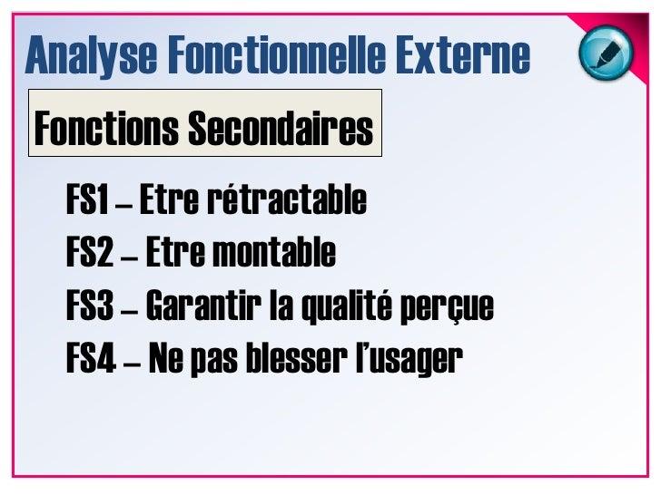 Analyse Fonctionnelle Externe<br />Fonction Principale<br />FP1 - Soutenir le capot<br />