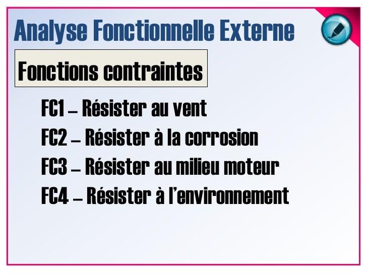 Analyse Fonctionnelle Externe<br />Fonctions Secondaires<br />FS1 – Etre rétractable<br />FS2 – Etre montable<br />FS3 – G...
