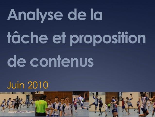 Analyse de la tâche et proposition de contenus Juin 2010