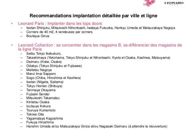 Recommandations implantation détaillée par ville et ligne • Leonard Paris : Implanter dans les tops doors – Isetan Shinjuk...