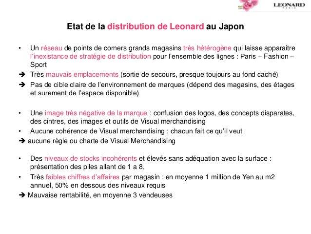 Etat de la distribution de Leonard au Japon • Un réseau de points de corners grands magasins très hétérogène qui laisse ap...